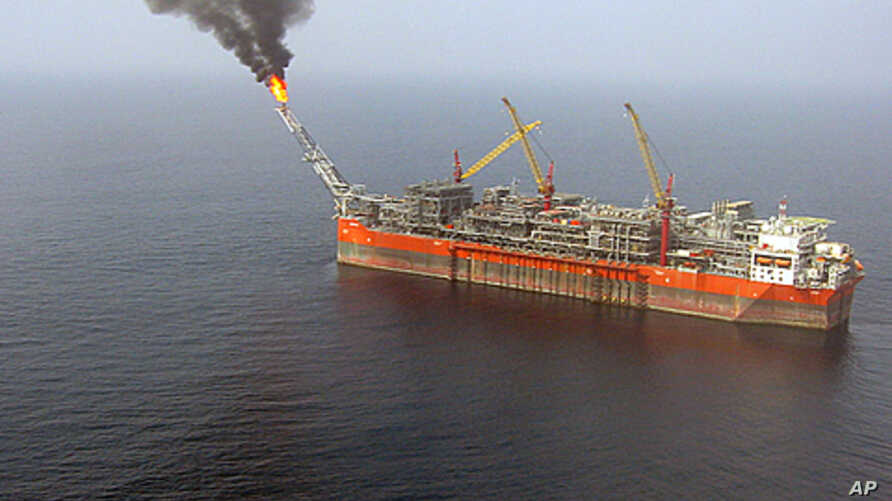 An aerial view 120 kms off the coast of Nigeria, south of Lagos, shows the FPSO (Floating, Production, Storage and Offloading) Bonga unit, (2008 file photo).