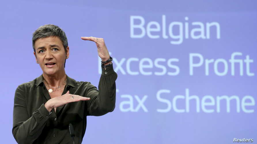 European Competition Commissioner Margrethe Vestager addresses a news conference in Brussels, Belgium, Jan.11, 2016, after the EU demanded Monday that Belgium recover millions of euros from 35 large companies in back taxes.