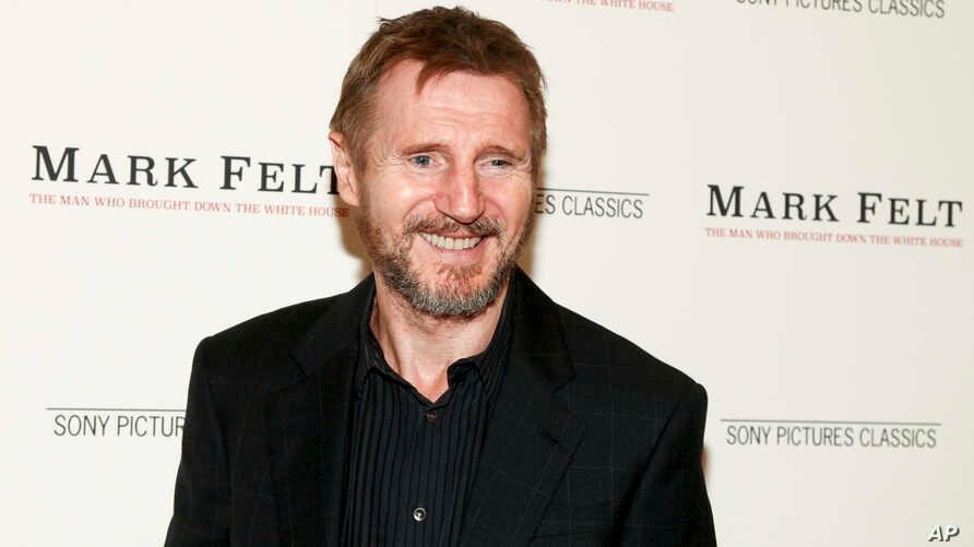 """FILE - Liam Neeson attends the premiere of """"Mark Felt: The Man Who Brought Down the White House"""" at The Whitby Hotel in New York, Sept. 21, 2017."""