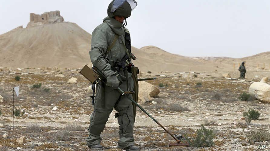 Russian serviceman checks for mines in Palmyra, Syria, in this photo provided by Russian Defense Ministry press service, April 8, 2016.