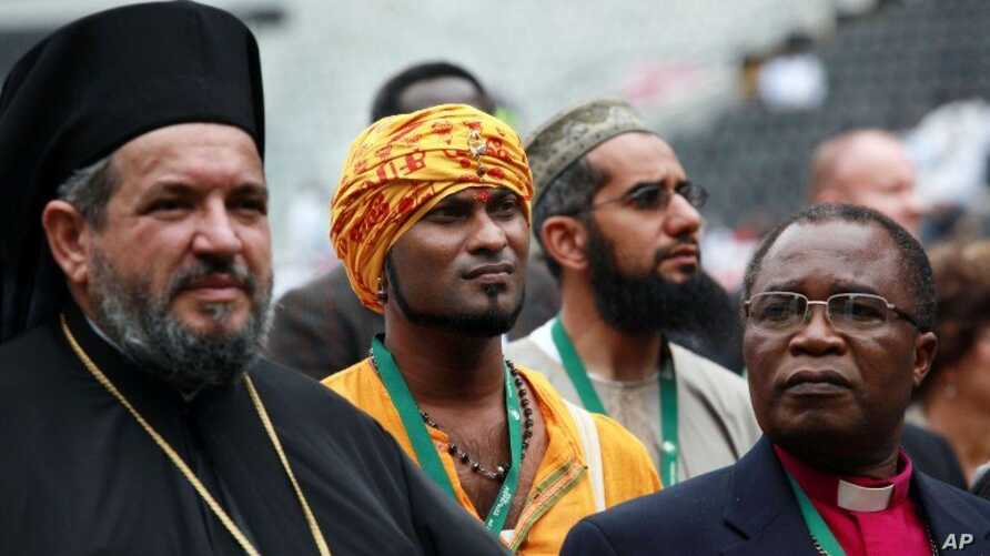 Various leaders from different faith communities attend the faith based Climate Justice Rally at the ABSA Kingspark Rugby stadium in Durban, November 27, 2011.