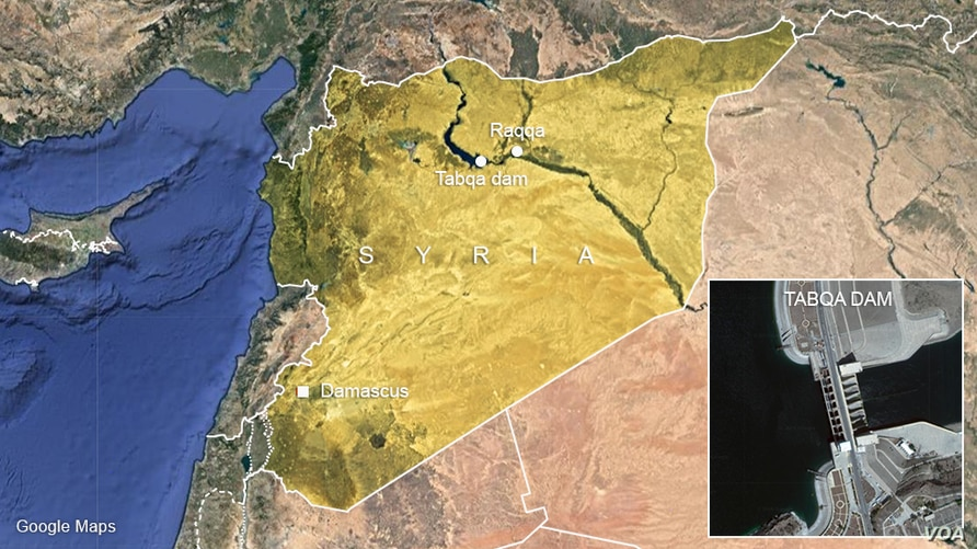 Map of Tabqa Dam.
