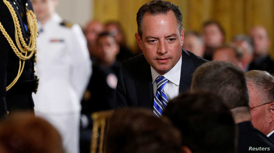 White House Chief of Staff Reince Priebus takes his seat for a ceremony recognizing the first responders to the June 14 shooting involving Congressman Steve Scalise, at the White House in Washington, U.S. July 27, 2017.