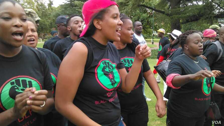 Black First Land First activists gathered Friday morning in Pretoria, South Africa, to demand that land be given to black South Africans as compensation for colonial-era land seizures. (A. Powell/VOA)