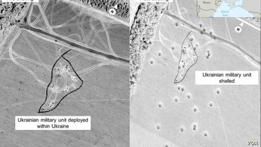 A U.S. government satellite image alleges firing of rockets from Russian onto Ukrainian territory.