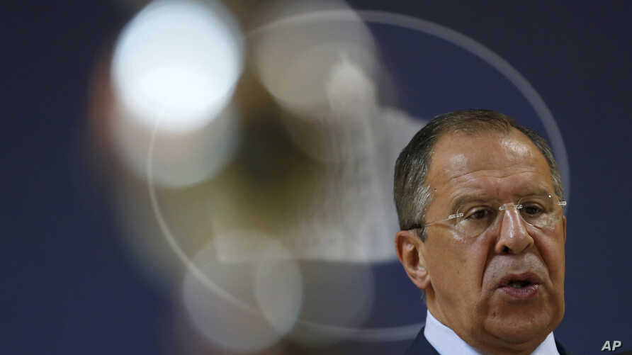 Russian Foreign Minister Sergey Lavrov addresses the media after talks with his Serbian counterpart Ivica Dacic in Belgrade, Serbia, June 17, 2014.