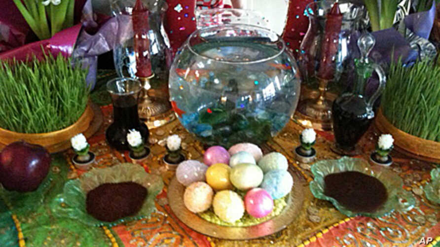 A festive Iranian food table is rich in color and flavor.