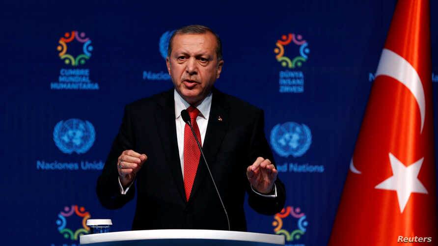 Turkish President Tayyip Erdogan talks at the closing news conference during the World Humanitarian Summit in Istanbul, May 24, 2016.