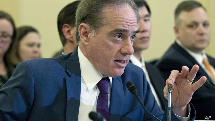 Veterans Affairs Secretary David Shulkin testifies on FY2019 and FY2020 budgets for veterans programs before the Senate Committee on Veterans Affairs on Capitol Hill, in Washington, March 21, 2018.