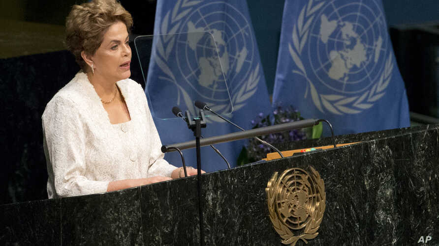 Brazilian President Dilma Rousseff speaks during the Paris Agreement on climate change ceremony at U.N. headquarters, April 22, 2016.