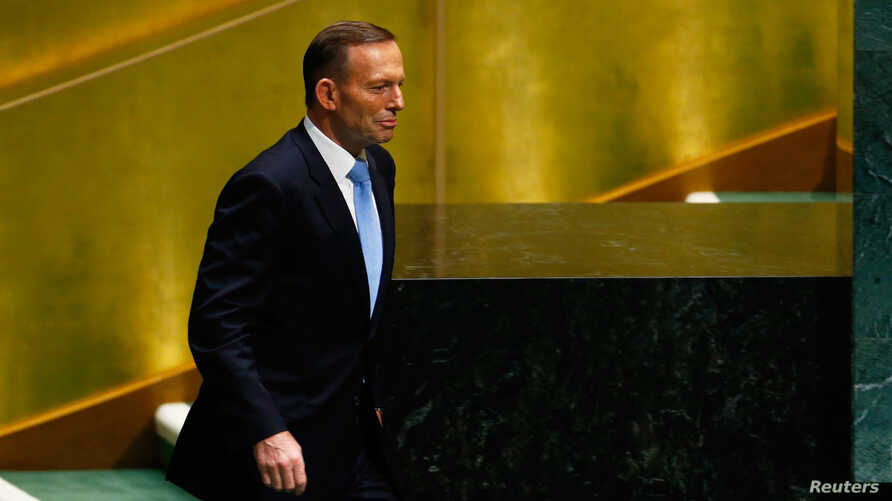 Tony Abbott, Prime Minister of Australia, prepares to address the 69th United Nations General Assembly at the U.N. headquarters in New York. Sept. 25, 2014.