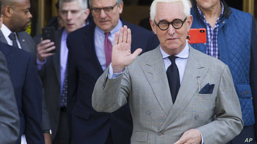 Roger Stone, an associate of President Donald Trump, leaves the U.S. District Court, after a court status conference on his seven charges: one count of obstruction of an official proceeding, five counts of false statements, and one count of witness t
