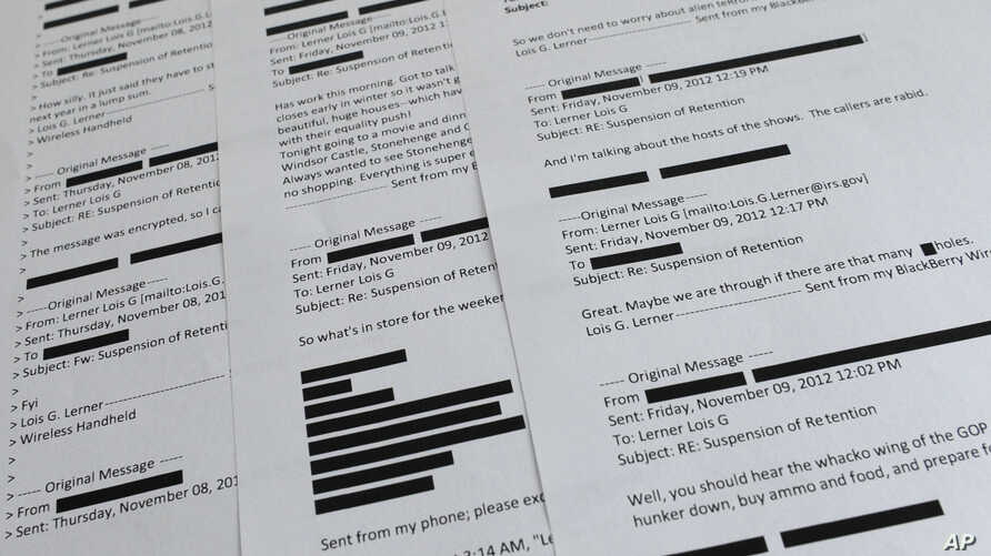 Lois Lerner emails obtained from the House Ways and Means Committee are displayed in Washington, Wednesday, July 30, 2014.