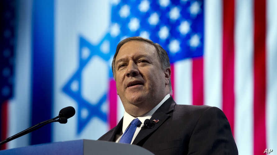 U.S. Secretary of State Mike Pompeo speaks at the 2019 American Israel Public Affairs Committee (AIPAC) policy conference, at Washington Convention Center, in Washington, March 25, 2019.