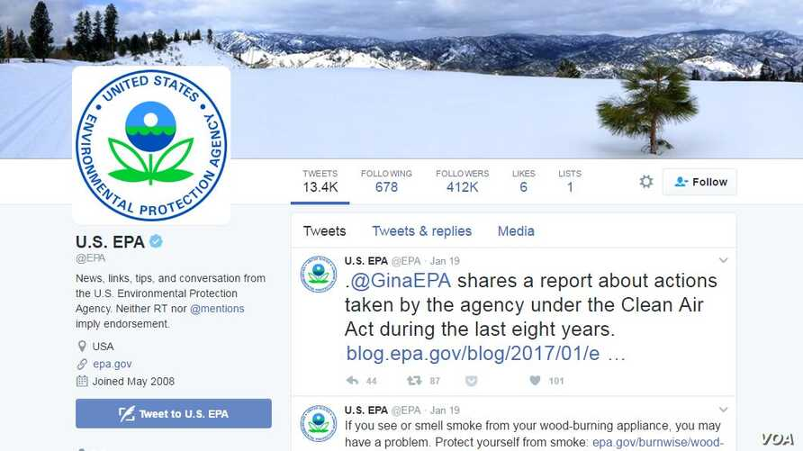 The Environmental Protection Agency's Twitter page.