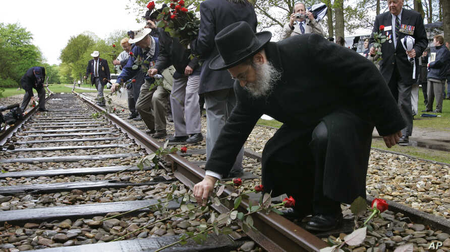 A Rabbi puts a rose on the railroad tracks at former concentration camp Westerbork, the Netherlands, remembering more than a hundred thousand Jews who were transported from Westerbork to Nazi death camps, May 9, 2015.
