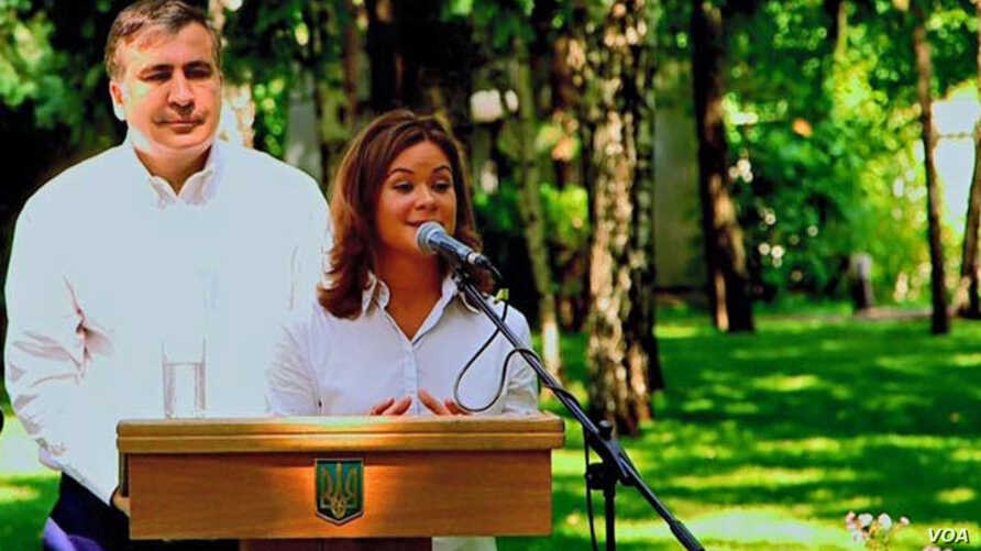 Russian opposition activist Maria Gaidar speaks after being introduced by Ukraine's Odessa Region Governor Mikheil Saakashvili as his pick for deputy governor, in Odessa, Ukraine, July 17, 2015. (Source - Mikheil Saakashvili's Facebook page)