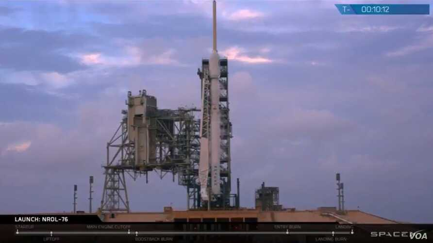 A SpaceX rocket is seen on the launch pad before launching with a U.S. government spy satellite Monday. (SpaceX)