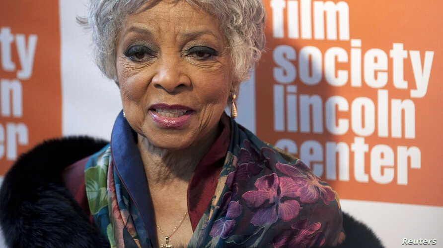 FILE - Actress Ruby Dee arrives at The Film Society's Annual Gala Presentation of the 38th Annual Chaplin Award honoring award-winning actor Sidney Poitier in New York City, May 2, 2011.