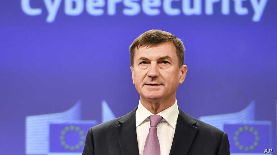 EU Commissioner for the Digital Single Market Andrus Ansip addresses the media in EU's response to cyberattacks, at EU headquarters in Brussels, Sept. 19, 2017.