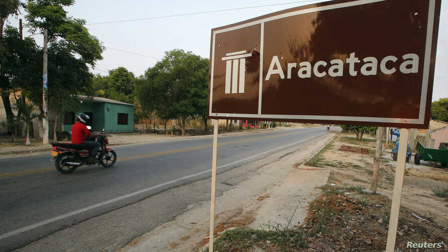 A view of the highway is seen at the entrance of Aracataca, which is the birthplace of Colombian author Gabriel Garcia Marquez, April 18, 2014.