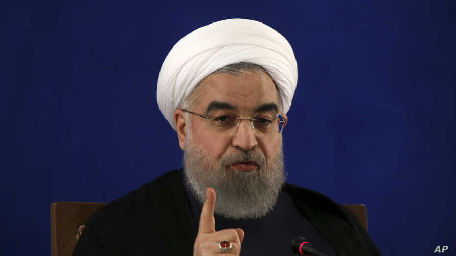 Iranian President Hassan Rouhani gives a press conference in Tehran, Iran, May 22, 2017.