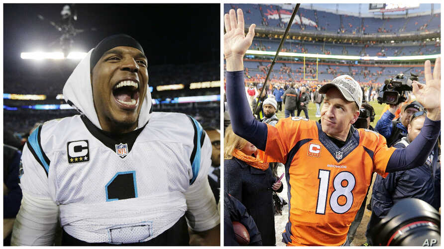 From left, Carolina Panthers' Cam Newton celebrates after the NFL football NFC Championship game against the Arizona Cardinals, in Charlotte, N.C., and Denver Broncos quarterback Peyton Manning waves to spectators following the NFL football AFC Champ