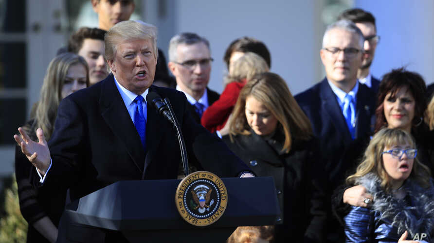 President Donald Trump speaks to participants of the annual March for Life event, in the Rose Garden of the White House in Washington, Jan. 19, 2018.