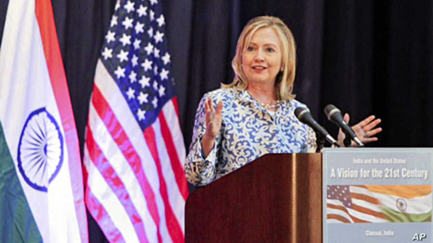 U.S. Secretary of State Hillary Clinton gives a lecture at the Anna Centenary Library in the southern Indian city of Chennai, July 20, 2011