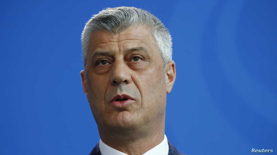 FILE - Kosovo's President Hashim Thaci speaks to reporters in Berlin, Germany, May 9, 2018.