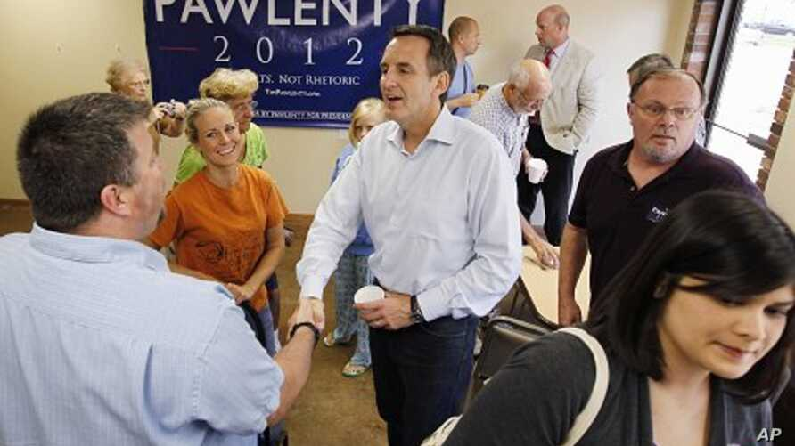 Republican presidential candidate, former Minnesota Gov. Tim Pawlenty makes a campaign stop at Coffee Cup Cafe in Sully, Iowa, Tuesday, Aug. 9, 2011
