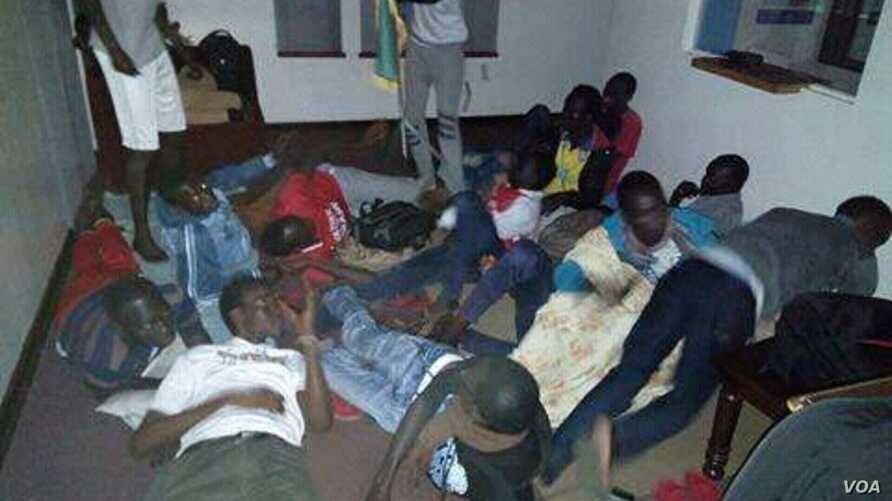 Students get ready to sleep in one of the rooms of the South Sudan Embassy. They've complained of living in cramped spaces with little food. (Photo courtesy of South Sudanese students)