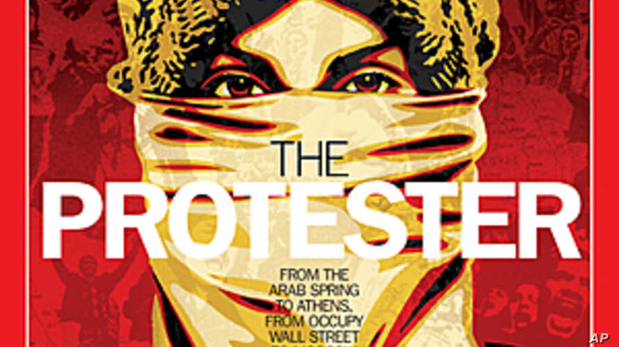 """This image released by Time Magazine shows the Person of the Year issue featuring """"The Protester."""" The magazine cited dissent across the Middle East that has spread to Europe and the United States, and says these protesters are reshaping global polit"""
