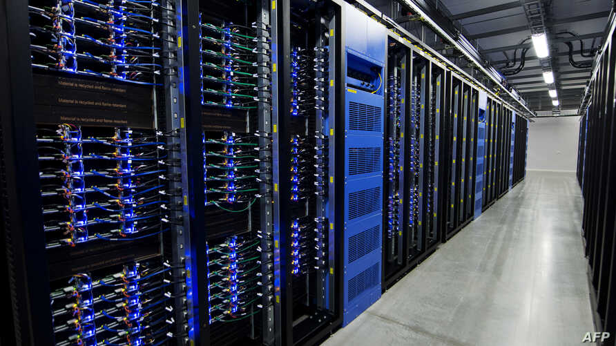 FILE - Thousands of servers are pictured at the Facebook Data Center, its first outside the US on Nov. 7, 2013 in Lulea, in Swedish Lapland.