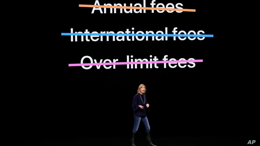 Jennifer Bailey, vice president of Apple Pay, speaks at the Steve Jobs Theater during an event to announce new products Monday, March 25, 2019, in Cupertino, California.