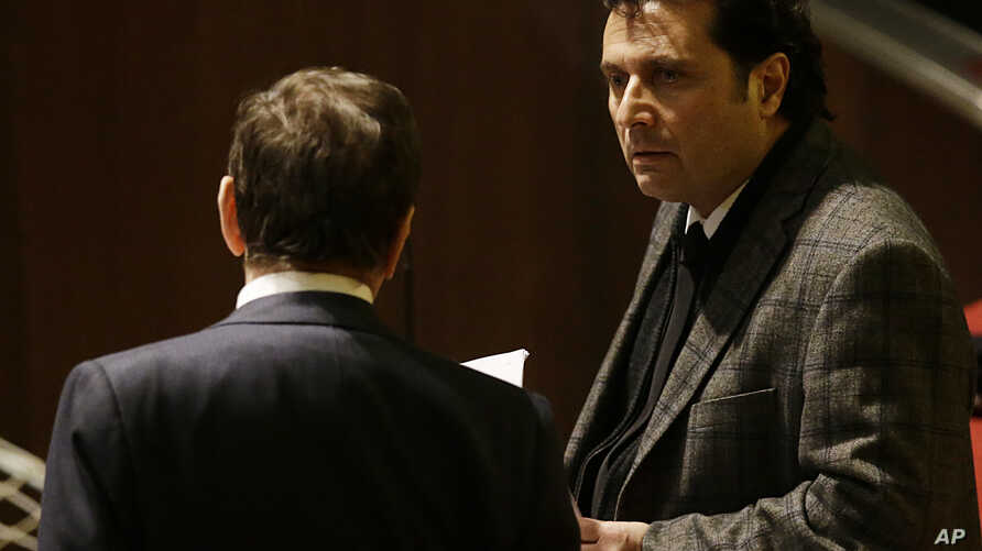 Francesco Schettino attends his trial at the Grosseto court, Italy, Feb. 11, 2015.