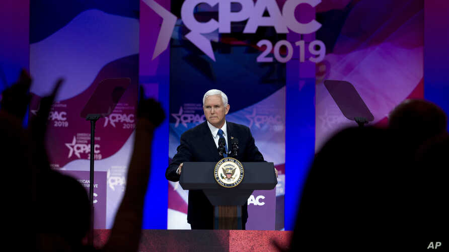 Vice President Mike Pence speaks at Conservative Political Action Conference, CPAC 2019, in Oxon Hill, Maryland., March 1, 2019.