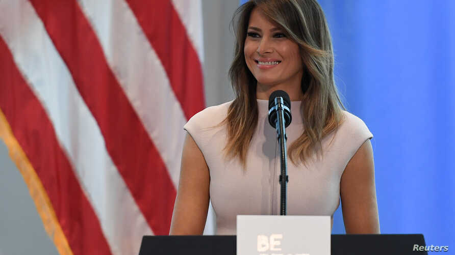 """U.S. first lady Melania Trump speaks on her initiative """"Be Best"""" during a reception she hosted at the United States mission to the U.N. on the sidelines of the United Nations General Assembly in New York, Sept. 26, 2018."""