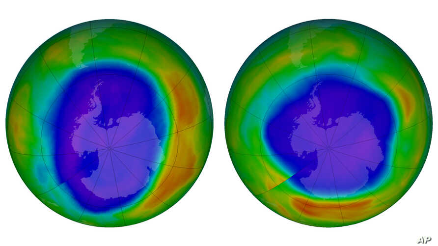 This combination of images made available by NASA shows areas of low ozone above Antarctica on Sept. 2000, left, and Sept. 2018.