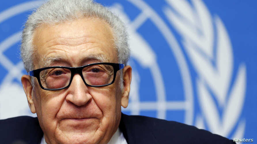 U.N.-Arab League envoy for Syria Lakhdar Brahimi addresses the media after a meeting at the Geneva Conference on Syria at the United Nations European headquarters in Geneva, Feb. 15, 2014.