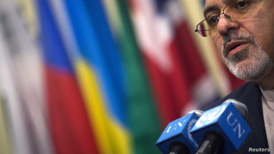Iran's Foreign Minister Mohammad Javad Zarif addressing media after meeting of foreign ministers, United Nations Headquarters, New York, Sept. 26, 2013.
