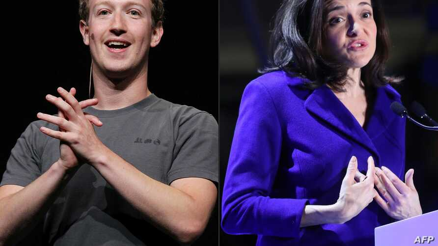 FILE - A combination of pictures created on March 30, 2018 shows( L )Facebook CEO Mark Zuckerberg delivering a keynote address during the Facebook f8 conference in San Francisco, California and (R) Chief Operating Officer of Facebook Sheryl Sandberg ...