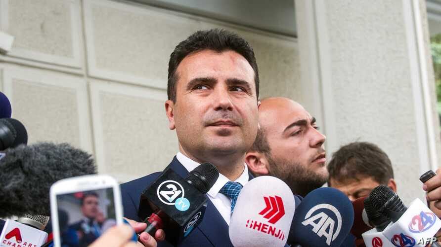 Leader of the Social Democratic Union of Macedonia (SDSM) Zoran Zaev, speaks to the press after receiving a mandate by Macedonia's President on behalf of the parliamentary's majority, in Skopje, May 17, 2017.