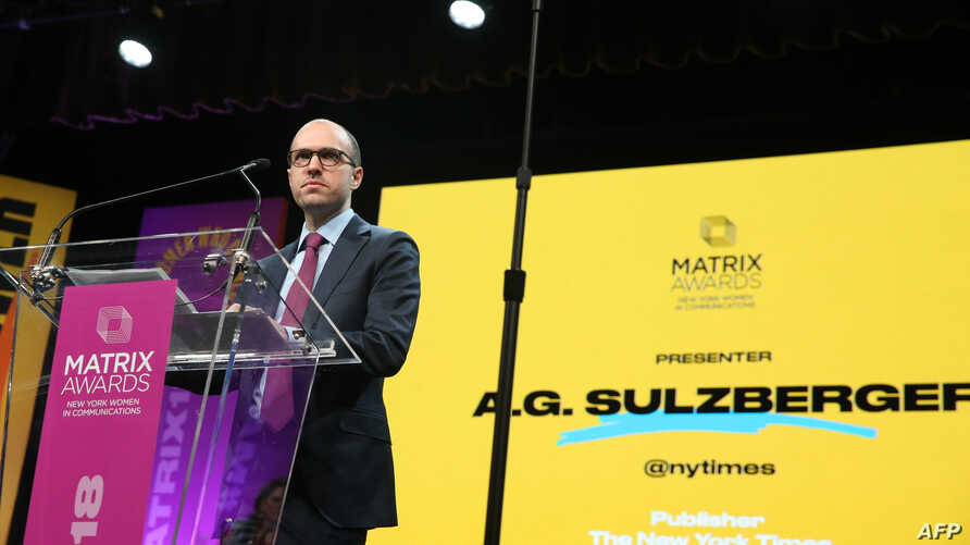 """FILE - New York Times publisher A.G. Sulzberger said he warned President Donald Trump that his attacks on the press were """"dangerous and harmful to our country."""" Sulzberger is shown at the 2018 Matrix Awards in New York City, April 23, 2018."""