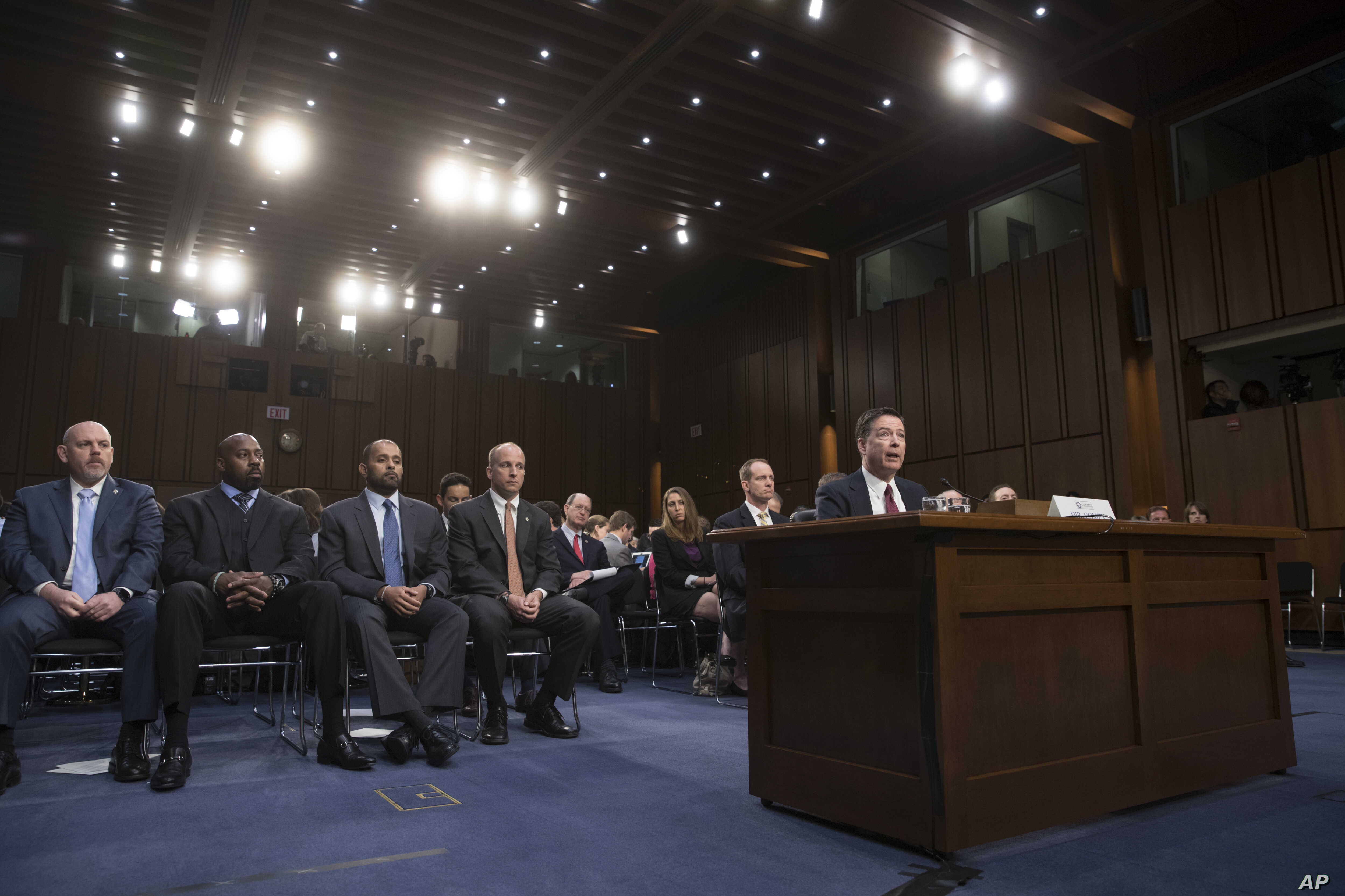 Former FBI director James Comey testifies before the Senate Select Committee on Intelligence, on Capitol Hill in Washington, June 8, 2017.