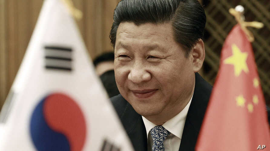 Chinese President Xi Jinping smiles during a meeting with South Korean National Assembly Speaker Chung Ui-hwa at the National Assembly in Seoul, South Korea, Friday, July 4, 2014.