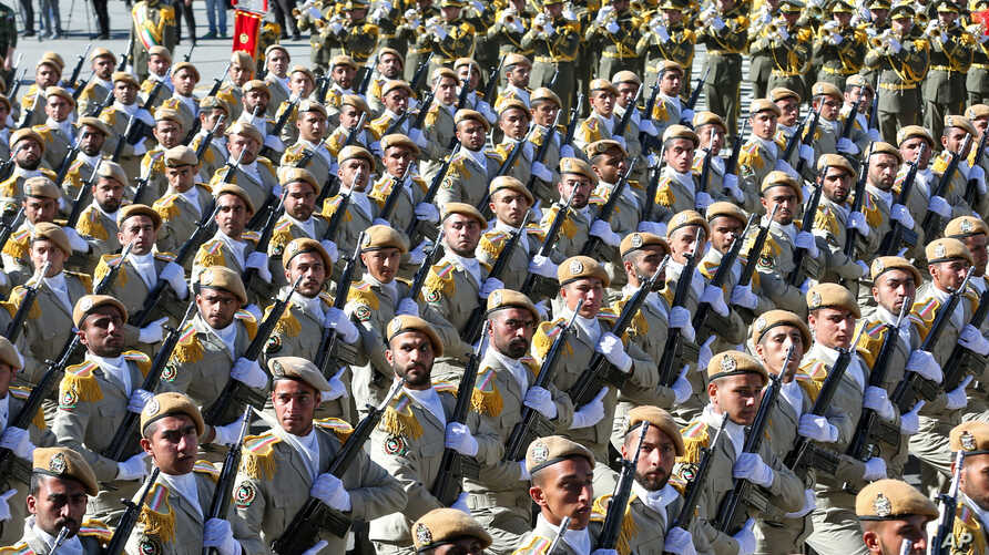 Iranian army troops march in a parade marking National Army Day just outside Tehran, Iran, April 17, 2016. A new force was announced Thursday, designed to fight in Arab countries and would recruit heavily from non-Iranian Shi'ite Muslims across the r...