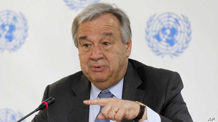 U.N. Secretary-General Antonio Guterres speaks during a news conference in Nairobi, Kenya, March 8, 2017. The risk of genocide has considerably diminished in South Sudan, which is experiencing civil strife that has led to famine in some part...