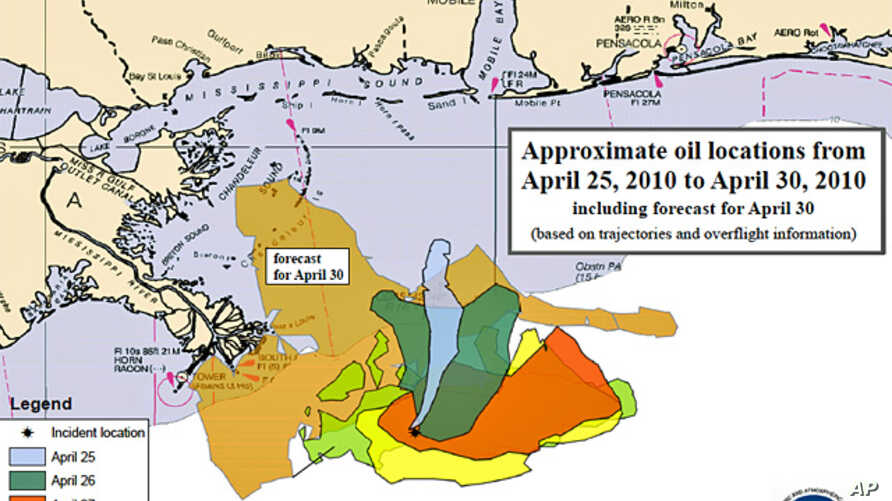 Approximate oil slick locations from April 25, 2010 to April 30, 2010