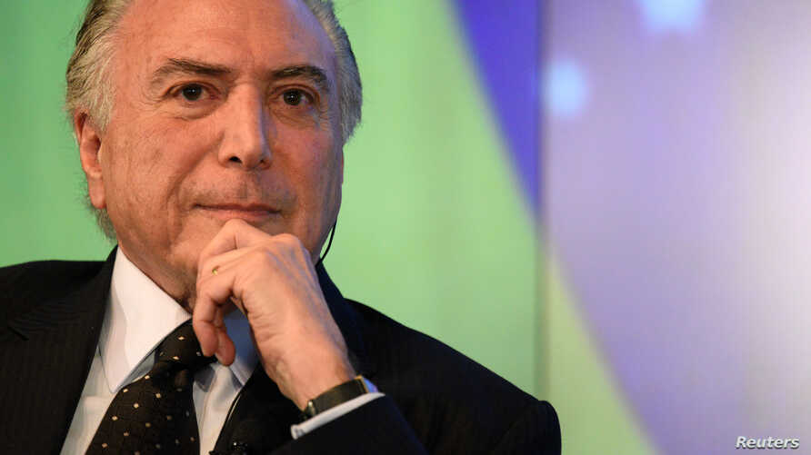 President of Brazil, Michel Temer, speaks with Reuters Editor-in-Chief Steve Adler about the future of Latin America's largest economy as it emerges from recession and a large-scale corruption scandal at a Reuters Newsmaker event in New York, Sept....